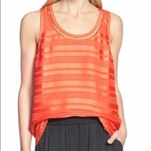 Trouve Orange/red sheer TankTop with Front Lining
